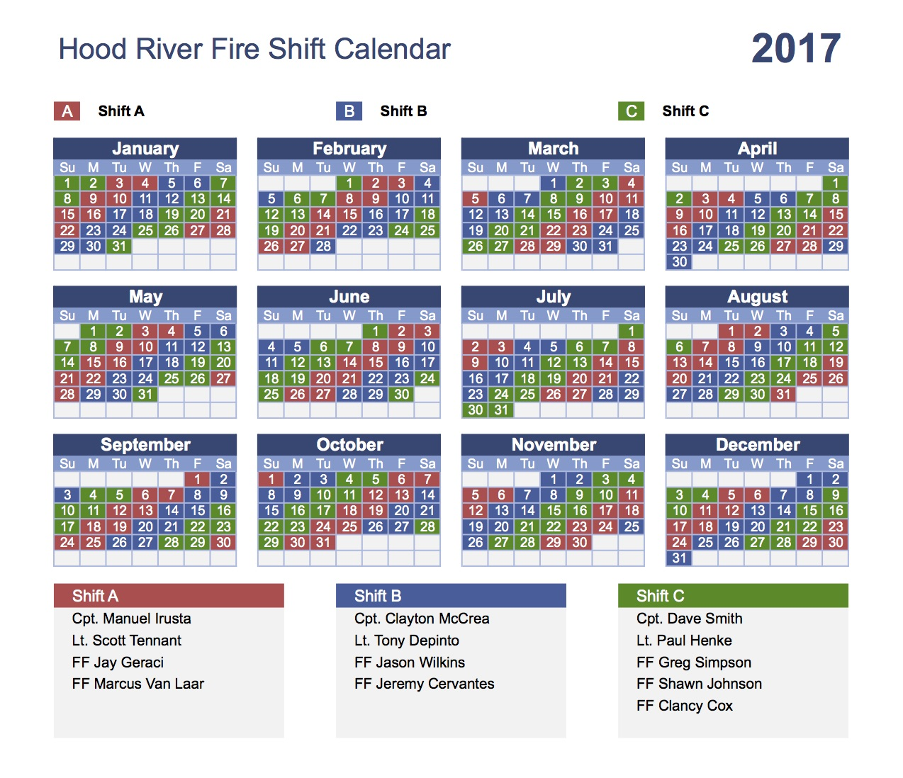 2017 HRFD Shift Schedule