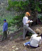 Survey crew records prehistoric site.
