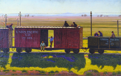 Men riding on a freight car